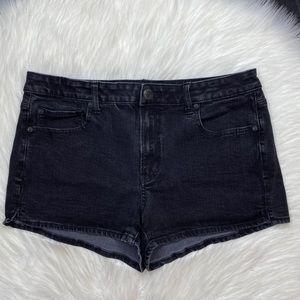 American Eagle High Rise Shortie Black Jean Shorts